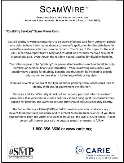 Disability Services Scam Phone Calls Carie News